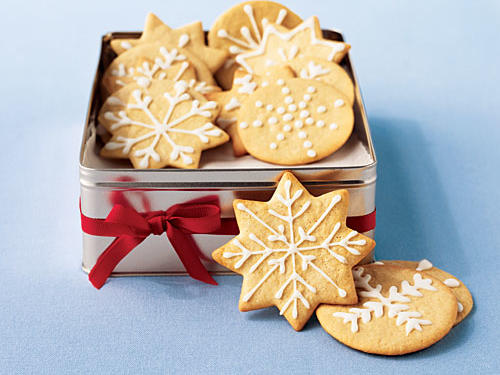 Freezing the dough before baking makes for an extra-crunchy version of these holiday staples, and the simple icing is a way to show off your decorating creativity. These delicious cookies are easy on the waistline, too, with only 2.3 grams of fat and less than 100 calories apiece. For more lightened recipes for the season, try our Lighten Up: Holiday Classics gallery