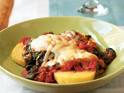 Talk about quick and easy: This recipe takes 10 minutes and five ingredients. But it's still delicious, satisfying, and contains just 264 calories per serving. The eggs take on lots of flavor from poaching in pasta sauce, and polenta adds body and unique texture. Other kinds of greens can also work here, though they might need to cook a bit longer―try Swiss chard or kale.