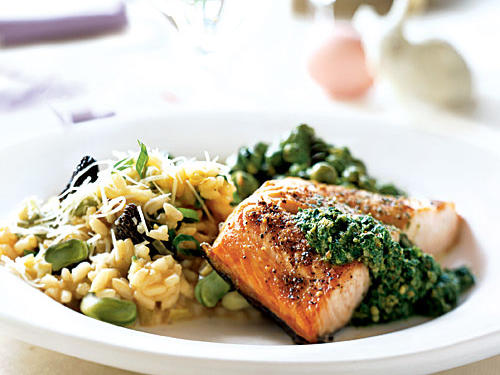 Enjoy an elegant dinner of Spring Risotto, Salmon with Fresh Sorrel Sauce, and Fresh Peas with Mint that is surprisingly simple to make. The fresh spring flavors of mint, fava beans, peas, and new potatoes are highlights for this holiday-worthy menu.View Menu: Welcome Spring