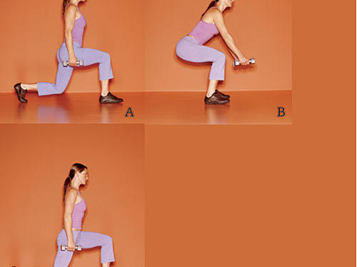Stand with feet hip-width apart, holding a 5- to 8-pound dumbbell in each hand. (A) Take a large step forward with right leg (about three feet), then bend knee to a 90-degree angle, keeping left leg behind you, heel off the floor. (B) Hold your weight on your right leg, bring left leg out to side so it's in line with right leg, and bend into a squat with both thighs close to parallel to the floor and arms in front of body, as shown. (C) Push off right leg, and place it about three feet behind you, so left leg is forward and bent at 90 degrees. Return to start position. Repeat for 8 to 12 repetions, then switch legs.