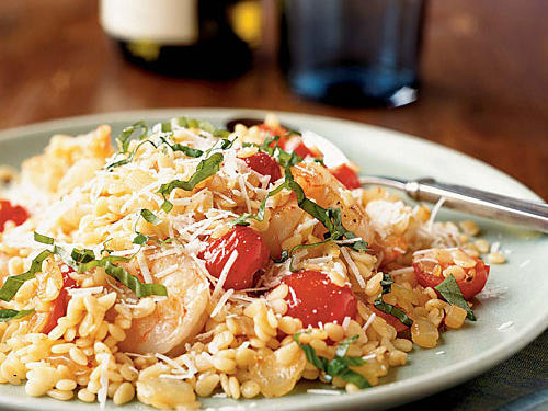1302 Shrimp and Orzo with Cherry Tomatoes and Romano Cheese