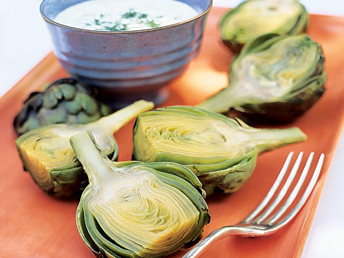 This recipe showcases the bold, distinct flavor of this delicious thistle. Cool, refreshing yogurt and dill get a kick from horseradish for a dipping sauce that doubles as a dressing for fresh veggies or a vibrant sandwich spread. Artichokes contain potassium, vitamin A, and antioxidants, so you can feel great about serving them.