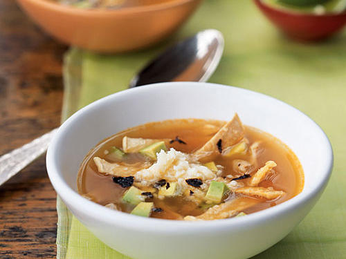 Epazote is a pungent wild herb frequently used in Mexican cooking and sold in Latin markets. If you can't find it, substitute two teaspoons chopped fresh cilantro to ensure the same great taste from this tortilla soup.