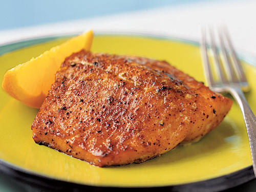 Many flavors are part of the eight-ingredient rub that covers this salmon―sweet and complex brown sugar, spicy chili powder, peppery cumin and coriander―but a subtle hint of orange underlies them all. Broiling turns the rub into a lovely crust while leaving the salmon tender and flaky. For a complementary side, stir orange pieces, dried cranberries, and chopped nuts like almonds or pine nuts into cooked white rice.