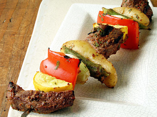 Kebabs are a favorite way to grill meat and vegetables. This recipe features an unusual, delicious grilled okra. Grilling infuses the pods with smoky flavor, and it allows them to maintain their firm texture.