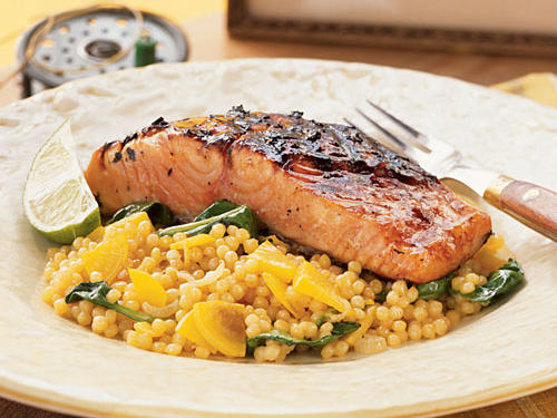 Israeli couscous, highlighted with sweet golden beets, is the perfect companion to the sweet-tart Ponzu sauce that coats the salmon. Try for wild Alaskan salmon; its rich, red color makes this dish gorgeous.