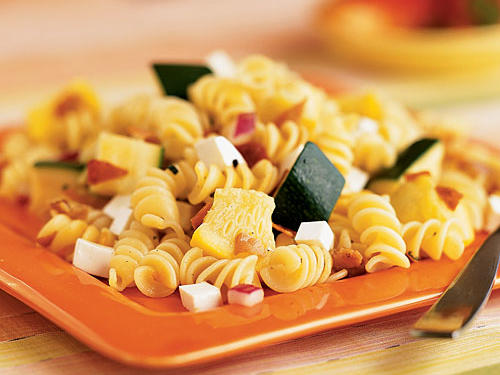Rotini, Summer Squash, and Prosciutto Salad with Rosemary Dressing Recipe