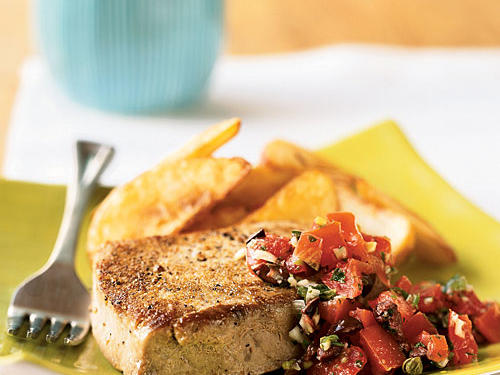Coriander has a lemon-sage flavor that complements the tuna and the fresh tomato sauce.