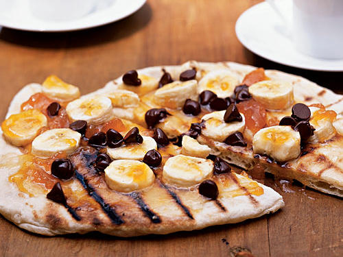 Chocolate Pizza with Apricot Preserves and Bananas Recipes