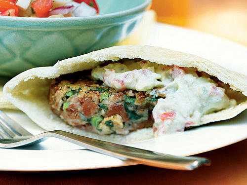 All-Time Best vegetarian entrée: Falafel may have originated in the Middle East, but this version (one of our all-time best) is distinctly Southwestern, with pinto beans standing in for chickpeas and a generous addition of Monterey Jack cheese. The avocado spread is wonderfully versatile; try it on burgers, cold-cut sandwiches, BLTs, and more.