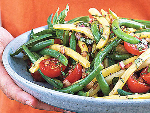 Mixed Bean-Cherry Tomato Salad with Basil Vinaigrette