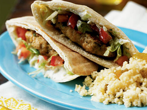 The flavor of lemon brightens the spiced chicken patties in this recipe, and also flavors the tangy sauce, giving a double whammy of citrus flavor. For a healthful, hearty meal, serve in whole-wheat pitas with brown rice or bulgur pilaf.