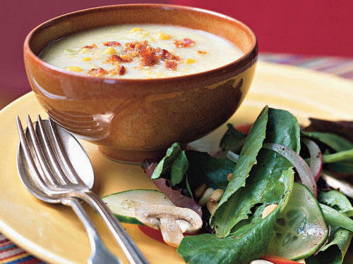 Perfect for cold weather, this thick and hearty soup is simple to make. Add cauliflower to thicken up the soup, and sprinkle atop sharp cheddar for extra zip.