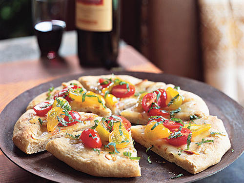 Garlic Flatbreads with Smoked Mozzarella and Tomato Vinaigrette