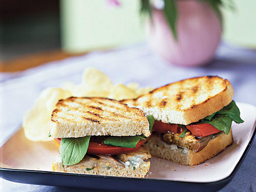 Grilled Eggplant and Tomato Sandwiches with Roquefort Dressing