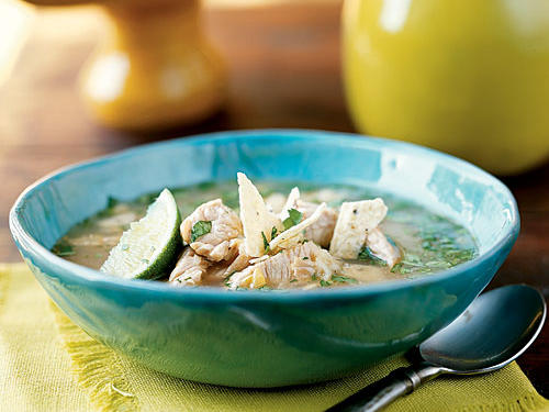 You can use leftover turkey in place of raw cutlets for this soup; in fact, that cuts three minutes from the already-short prep time because you don't have to brown them first. Chipotles, which are so versatile that they should be a pantry staple in every kitchen, give the soup a nice smoky heat and Southwest flavor without making it too fiery. The crunchy chips make a nice textural contrast, and it only takes about 25 minutes to make these flavorful ones yourself if you prefer.