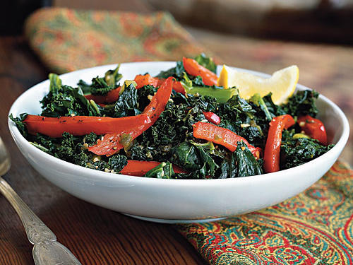 Although you can find kale in supermarkets year-round, this leafy green is at its peak flavor in cool-weather months.  The jalapeno pepper adds a spicy kick to this side, and the red peppers grant some aromatic sweetness.