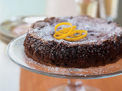Dark chocolate and orange are a classic combination in this decadent dessert. With Triple Sec (orange-flavored liqueur), orange juice, and orange rind strips on top, this cake is zinging with citrus.