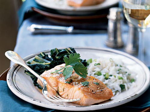 Slow-Roasted Salmon with Bok Choy and Coconut Rice Recipes