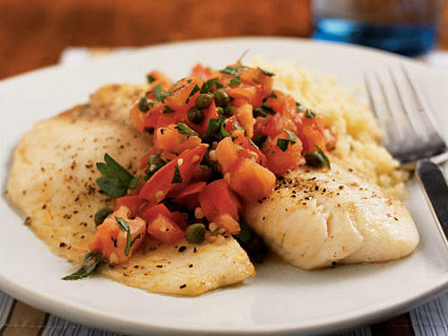 The mild tilapia is a perfect foil for the bright, zesty salsa. Serve a green salad and roasted asparagus on the side to make this dinner a celebration of healthy ingredients.