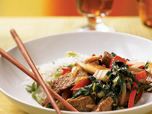 Choose quick-cooking flank steaks for a speedy stir-fry dish packed with shiitake mushrooms and bok choy.