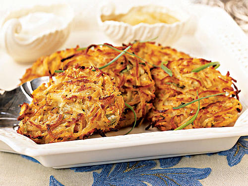 A basic latke is given pizzazz with the addition of shredded sweet potato, making this potato pancake slightly sweeter than expected. It will be love at first bite.