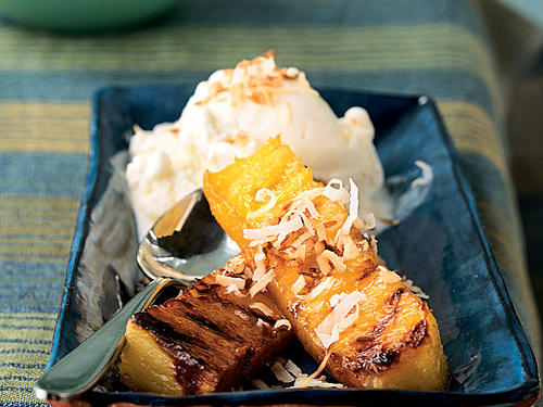 This tropical dessert couldn't be easier, and it cooks on a grill pan, so you can make it any time of year. For a twist, use a mango-, coconut-, or other-flavored rum in the glaze mixture.