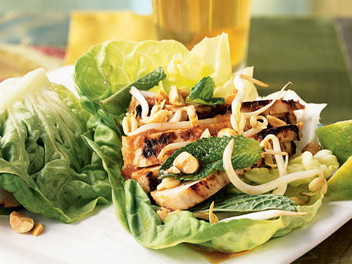 Instead of bread or tortillas, make your next sandwich or wrap inside a leafy green. Stack 2 or 3 large, leafy greens such as Bibb lettuce, romaine, red lettuce, cabbage, or radicchio and pile on the fixings. Enjoy the added crunch factor.View Recipe: Asian Chicken Lettuce Wraps