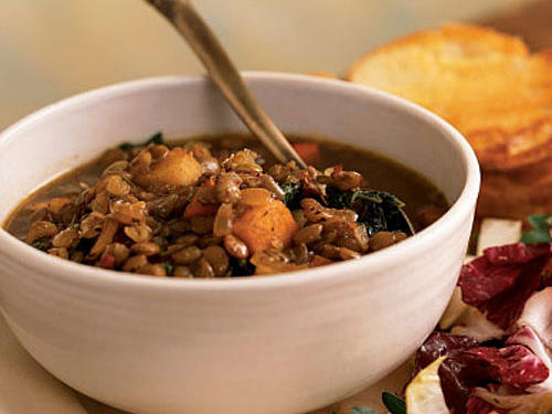 Winter's Best: Lentil Soup with Balsamic-Roasted Winter Vegetables
