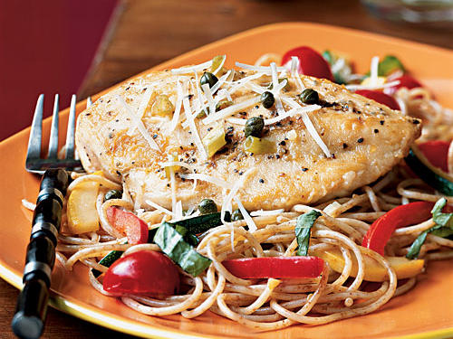 1302 Chicken Piccata with Summer Vegetable Pasta