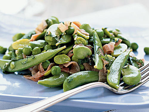 Mint and green peas are a classic spring combination. If you're a fan of edamame, use it in place of either the green peas or fava beans.