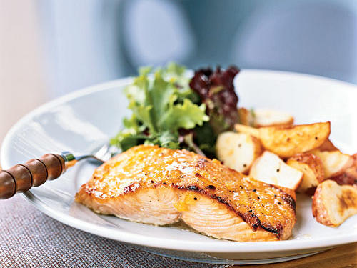 Broiled Salmon with Marmalade-Dijon Glaze