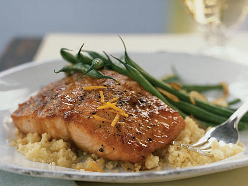 For a delicious teriyaki salmon dinner, check out this Asian-inspired salmon recipe featuring a glaze made from pineapple juice, brown sugar, soy sauce, and orange zest.