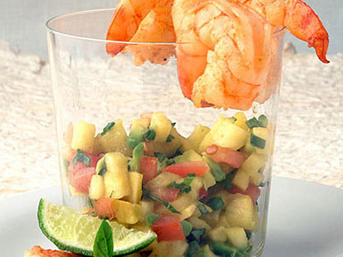 Nevada: Seared Shrimp Cocktail with Tropical Chipotle-Avocado Salsa