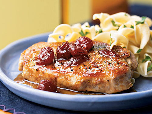 Using bottled preserves creates a nice thick sauce extra quickly, and it makes this recipe versatile; you can use apricot, plum, or whatever fruit preserves you have on hand. The ginger gives a slight spicy tinge to the sauce that works nicely with the pork. You can also use this recipe with chicken breasts or steak.