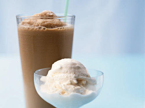 If you're in need of a chilly treat, opt for ice cream over a frozen coffee drink. A half-cup serving of ice cream has 65 fewer calories than a typical medium-sized, frozen coffee drink made with whole milk. It also has more fat but less sodium and less than half the sugar. (Coffee drinks that have additional flavorings, like vanilla, are even sweeter and saltier.) With either pick, you'll have a good dose of calcium―about 10 percent of your recommended daily allowance. If ice cream's fat content gives you cold feet, choose a light version; the fat tally drops to four grams and the calories to 125. If the coffee drink is your preferred choice, try it with skim milk to knock off 30 calories and all the fat.