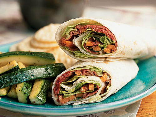 These wrap sandwiches take just a few minutes to assemble and make a quick lunch or take-along supper. Serve with rice crackers and sautéed zucchini for a complete meal.