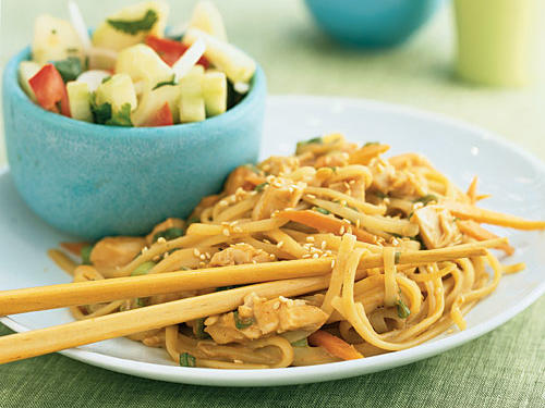 """Sesame noodles"" sounds innocent enough, but the savory, spicy, peanutty sauce is seriously addictive. It's a good use for leftovers, as you can add chopped cooked chicken, pork, tofu, or pretty much any vegetable. If you're a real sesame lover, try substituting tahini (the sesame seed paste often used in hummus) for a quarter to half of the peanut butter."