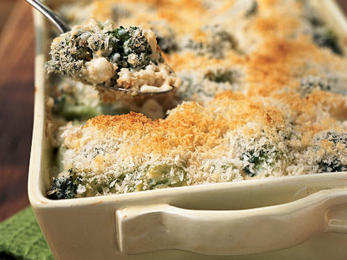 This favorite casserole was revamped to include the same creamy tang of the original recipe, but with 26 fewer grams of fat. The water chestnuts add a surprising crunch, and the substitution of sharp Cheddar cheese for the milder Colby variety provides additional zing.