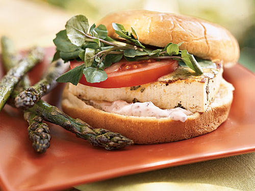 The olive-garlic mayonnaise on this sandwich adds a Mediterranean flavor. Serve it with grilled asparagus.