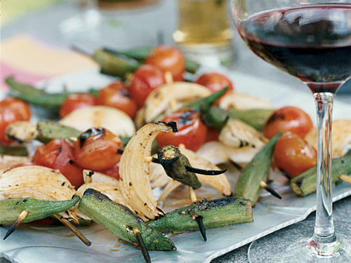 Assemble skewers the night before; brush them with the oil mixture before grilling. Flavor oil mixture with dried ground herbs to suit your taste. Look for okra pods of similar size to assure even grilling.