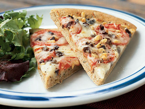 Fontina, Olive, and Tomato Pizza with Basil Whole Wheat Crust Whole-Grain Recipe