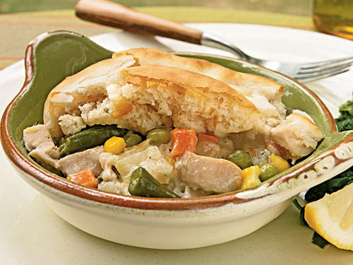 This recipe offers classic old-fashioned taste in a tiny fraction of the time it took Mom to make, and with much less fat and fewer calories to boot. It's got all the elements of a great potpie―tender veggies, a thick-and-creamy sauce, buttery biscuit crust―but it's ready in about 40 minutes.