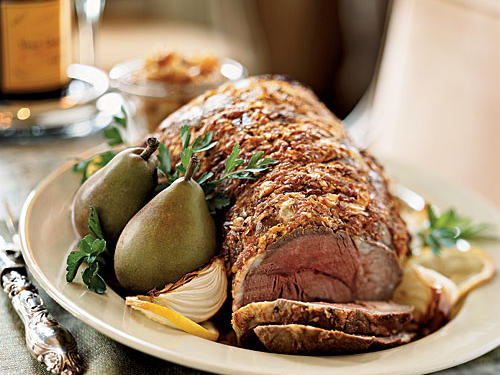 Leg of Lamb with Roasted Pear and Pine Nut Relish