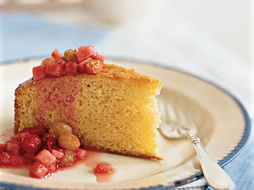 It's amazing that such a simple recipe can yield such flavor. Adding cornmeal to a basic cake gives it an incredibly unique texture and sweet corn bread flavor. The tart compote of raisins, cranberries, and pear adds more flavor and keeps the cake moist. Just don't let anyone know how easy it was to make.