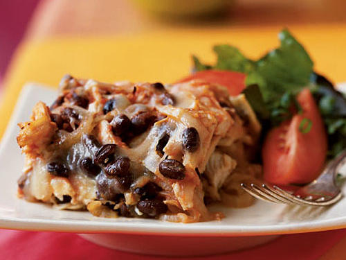 Traditionally a Mexican breakfast, black bean and chicken chilaquiles requires only 8 ingredients and can be enjoyed at any time of the day. Serve with a mixed green salad topped with diced avocado, tomato wedges, and olives.