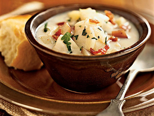You may not think fish is a particularly hearty ingredient, but paired with milk, potatoes, and bacon in this chowder, it's a meal that will fill anyone up. At just over 300 calories and eight grams of fat per bowl and taking less than 20 minutes to make, this recipe beats the pants off canned chowder.
