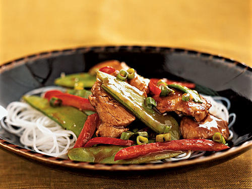 Hoisin sauce is an often overlooked item that really deserves a place in every pantry. It adds big flavors with very little effort, and a little goes a long way, keeping recipes healthful. It also matches lots of different foods very well, whether meats or vegetables. Here, it gives ample flavor to a simple combination of pork, snow peas, and bell pepper.