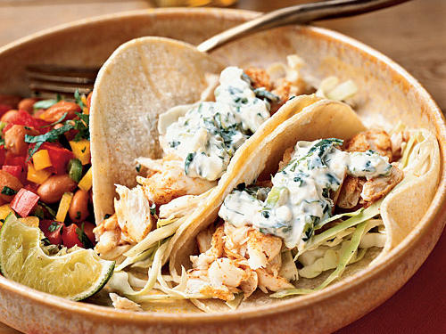 Crema mexicana is a thinner, tangier version of sour cream that you can find in most Mexican markets. Use it in place of the sour cream and mayo for authentic flavor in this recipe. Snapper's delicious flavor is excellent for fish tacos, but almost any flaky white fish, like tilapia, mahimahi, or halibut, will work.