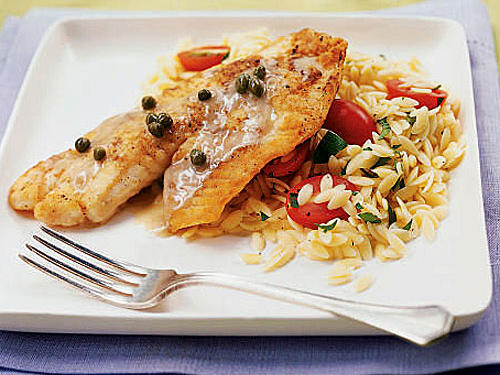 Tilapia is the perfect flaky white fish for this piccata recipe, which is even better when served with orzo.